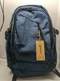 MANCRO Blue Navy Water Resistant Laptop Backpack with USB Ch