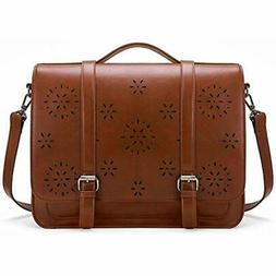 Briefcases Women PU Leather Laptop Backpack Shoulder Compute