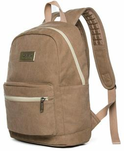 Kinmac Brown Canvas Small Size Laptop Backpack with Massage
