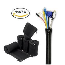 """Cable Cord Organizer 4 Pack,YaFex Zip Cable Sleeves,20"""" Neop"""
