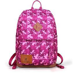 "Camel Teens Backpack Camouflage Kids School Bookbag Fits 14"""