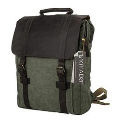Canvas Backpack, P.KU.VDSL Vintage Leather Laptop Backpacks