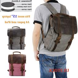 canvas backpack mens women school travel rucksack