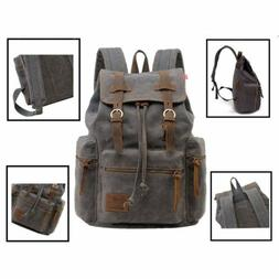 Canvas Backpack Mens Women School Travel Rucksack Laptop Sat