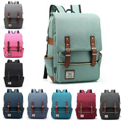 Girl Women Men Canvas Leather Travel Backpack Rucksack Lapto