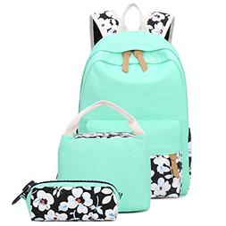 CAMTOP Canvas Backpack Set 3 Pieces School Backpack for Girl
