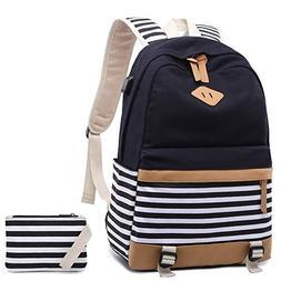 Canvas Backpack Girls Stripe School Bookbag Women College Ba