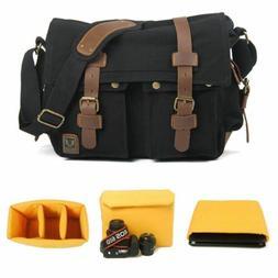 Canvas Camera Bag DSLR SLR Padded Shoulder Messenger Bag for