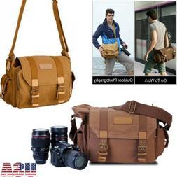 Canvas Camera Bag Shockproof Shoulder Messenger for Canon So