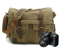 Canvas DSLR Camera Messenger Bag Shoulder Laptop Sleeve Phot
