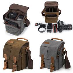 Canvas DSLR SLR Camera Bag PU Leather Trim Small Messenger S