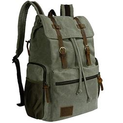 canvas laptop backpack vintage leather