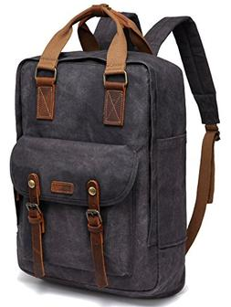 Canvas Laptop Backpack,VASCHY Vintage Waxed Canvas Anti-Thef