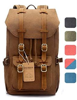 EverVanz Outdoor Canvas Leather Backpack, Travel Hiking Camp