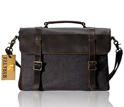 Estarer Canvas Leather Laptop School Messenger Bag Briefcase