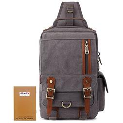 KAUKKO Canvas Leather Outdoor Sling Bag Cross Body Messenger
