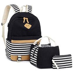 7e04b1779 Girls Canvas School Backpack Set 3 in 1 with lunch bag Colle