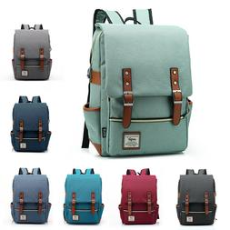 Canvas School Bag Backpack Bookbag Laptop Travel Rucksack Sa