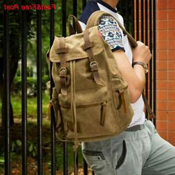 Canvas Travel Sport Rucksack Camping School Satchel Laptop H