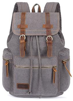 BLUBOON Canvas Vintage Backpack Leather Trim Casual Bookbag