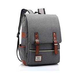 Gray Laptop Backpack Canvas School Bookbag for College, Trav