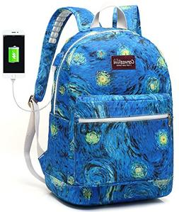 Canvaslove Canvas15.6 inch Waterproof laptop backpack with U