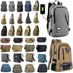 College Backpack Computer Camping Messenger USB Charge Rucks