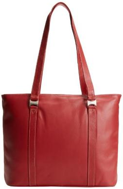Piel Leather Computer Tote Bag, Red, One Size
