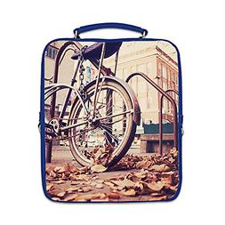 Custom Bicycle Interest Print PU Leather Laptop Square Backp