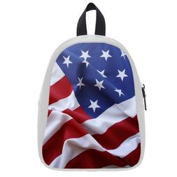 Custom Fashion Childrens Backpacks America Flag PU leather S