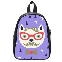 Custom Fashion Childrens Backpacks Funny Cartoon Cat PU leat