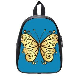 Custom Fashion Childrens Backpacks Yellow Butterfly PU leath