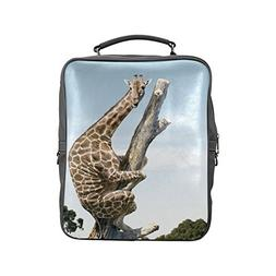 Custom Fashion Giraffe Climbed up the Tree Square Backpack