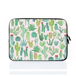 Cute Green Cactus Waterproof Laptop Sleeve with Zip 15-15.4