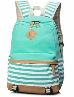 Leaper Cute Navy Style School Laptop Backpack Striped Canvas
