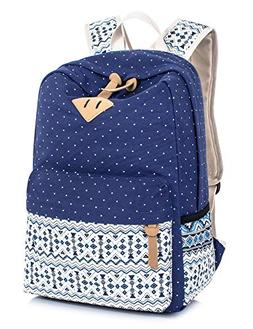 Leaper Cute Polka Dot and Aztec Casual Canvas Backpack Schoo