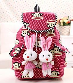Sweet Spring Water Cute Polka Dot Canvas Women's Backpack Bo