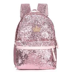 "Cute WOMEN'S NEW KOREA Bling 14"" GLITTER SEQUIN BACKPACK Boo"