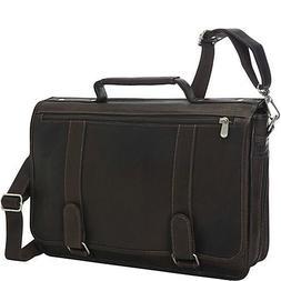 Piel Leather Double Loop Expandable Laptop Briefcase, Chocol