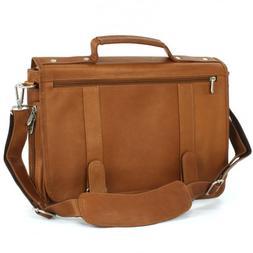 Piel Leather Double Loop Expandable Laptop Briefcase, Saddle