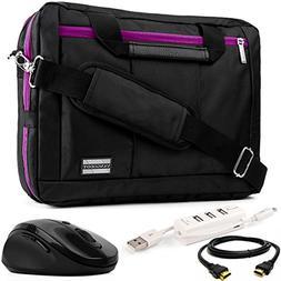 VanGoddy 3-in-1 Purple Trim Hybrid Laptop Bag w/HDMI Cable,