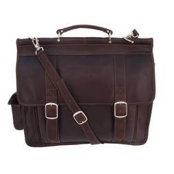 Piel Leather European Briefcase - Leather - Chocolate