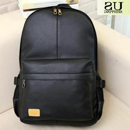 Fashion Men Women PU Leather Backpack Casual School Book Lap