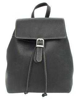 Piel Leather Top Flap Drawstring Backpack in Black