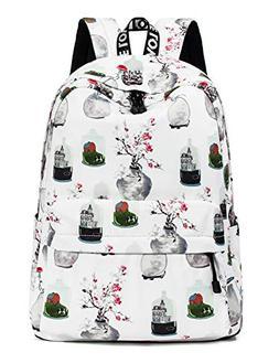 Floral Backpack for Girls, College Bookbag Travel Daypack La