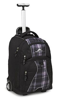 High Sierra Freewheel Wheeled Backpack, Black/Slate Plaid, O