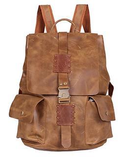 Iblue Genuine Leather Backpack Mens Travel Shoulder Bag #i66