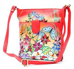 Genuine Leather Women's Handbag Hand Painted Handmade Should