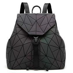 DIOMO Geometric Lingge Women Backpack Luminous Mens Travel S