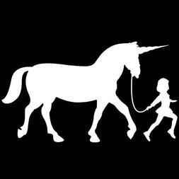 Girl Leading A Unicorn Vinyl Decal Sticker | Cars Trucks Van